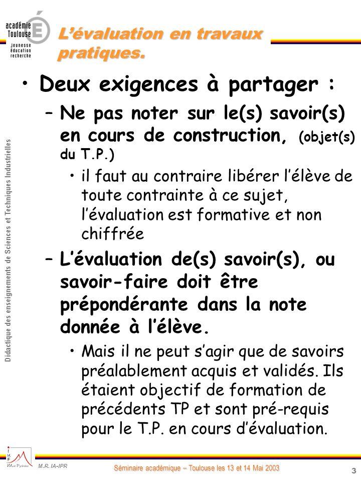 3 Didactique des enseignements de Sciences et Techniques Industrielles Séminaire académique – Toulouse les 13 et 14 Mai 2003 M.R.