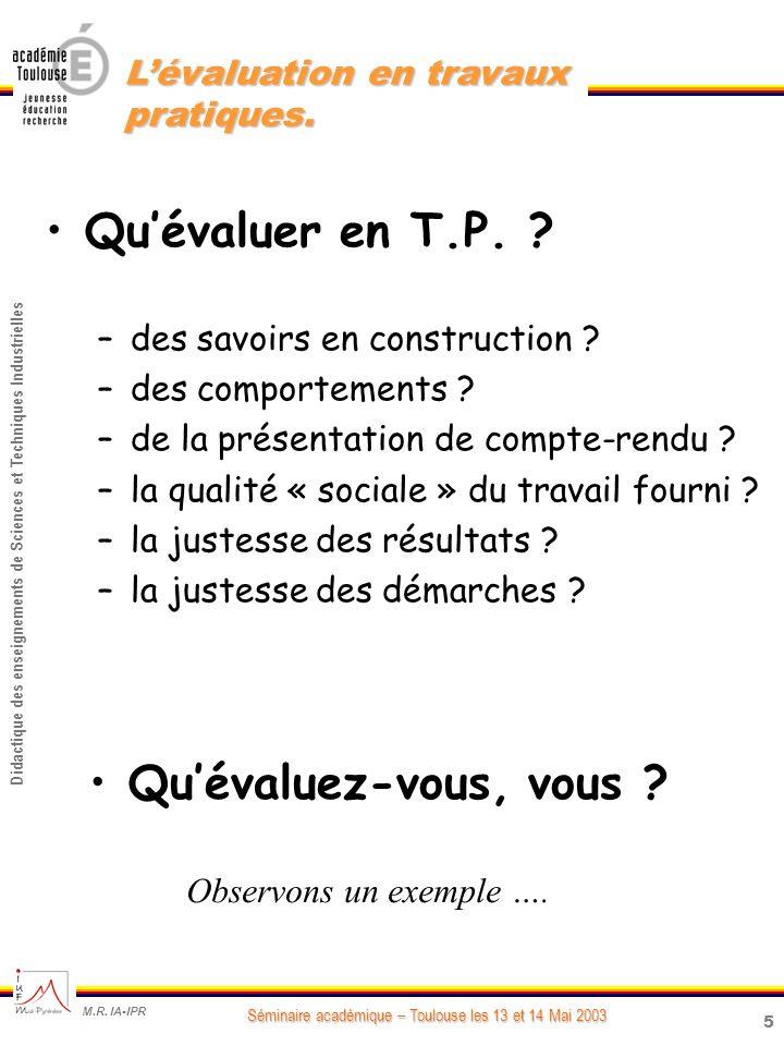 5 Didactique des enseignements de Sciences et Techniques Industrielles Séminaire académique – Toulouse les 13 et 14 Mai 2003 M.R.