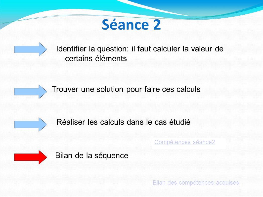 Séance 2 Identifier la question: il faut calculer la valeur de certains éléments Trouver une solution pour faire ces calculs Réaliser les calculs dans