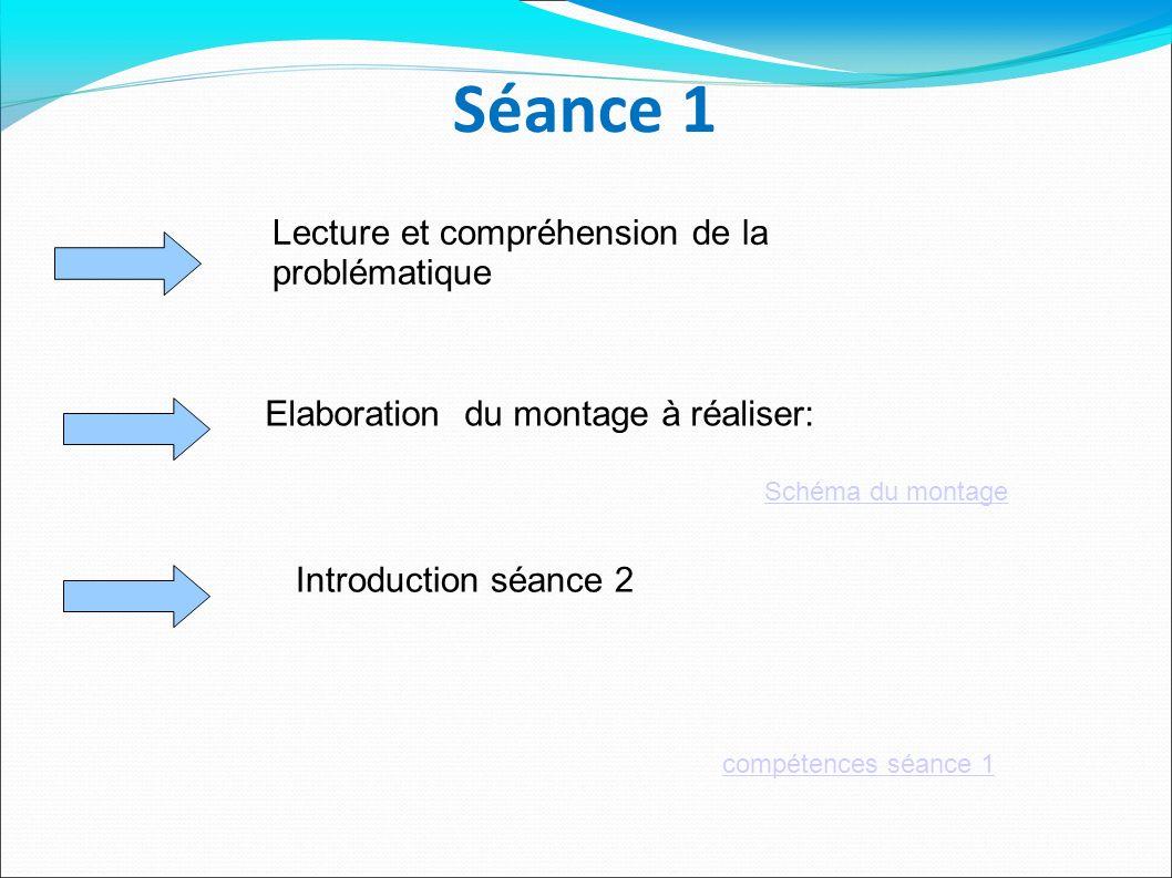 Séance 1 Elaboration du montage à réaliser: Lecture et compréhension de la problématique compétences séance 1 Introduction séance 2 Schéma du montage