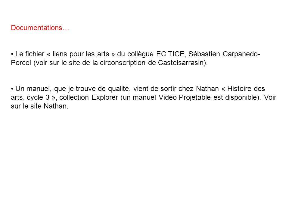 Documentations… Le fichier « liens pour les arts » du collègue EC TICE, Sébastien Carpanedo- Porcel (voir sur le site de la circonscription de Castels