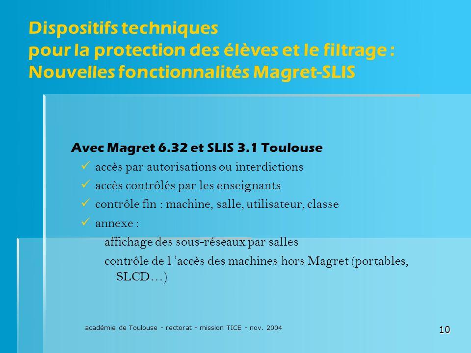 académie de Toulouse - rectorat - mission TICE - nov. 2004 10 Dispositifs techniques pour la protection des élèves et le filtrage : Nouvelles fonction
