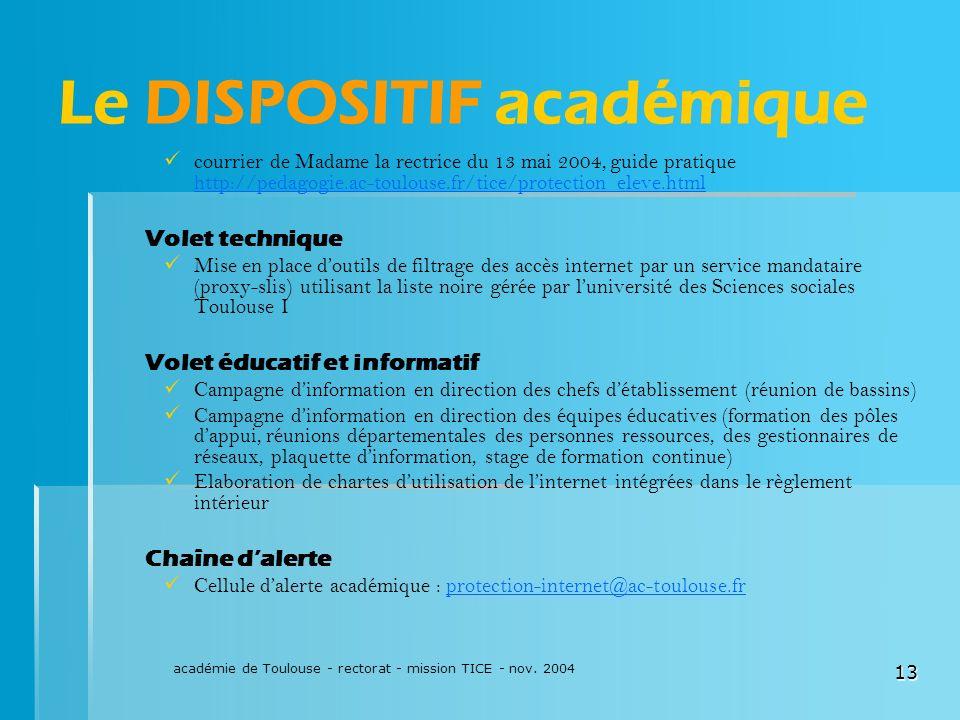 académie de Toulouse - rectorat - mission TICE - nov. 2004 13 Le DISPOSITIF académique courrier de Madame la rectrice du 13 mai 2004, guide pratique h