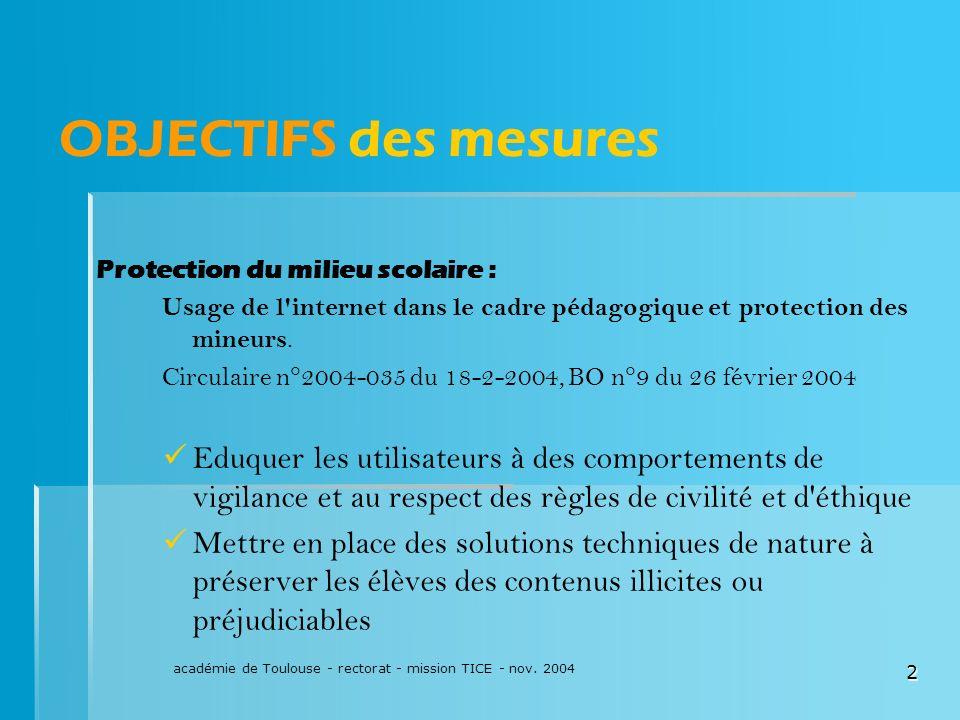 académie de Toulouse - rectorat - mission TICE - nov. 2004 2 OBJECTIFS des mesures Protection du milieu scolaire : Usage de l'internet dans le cadre p