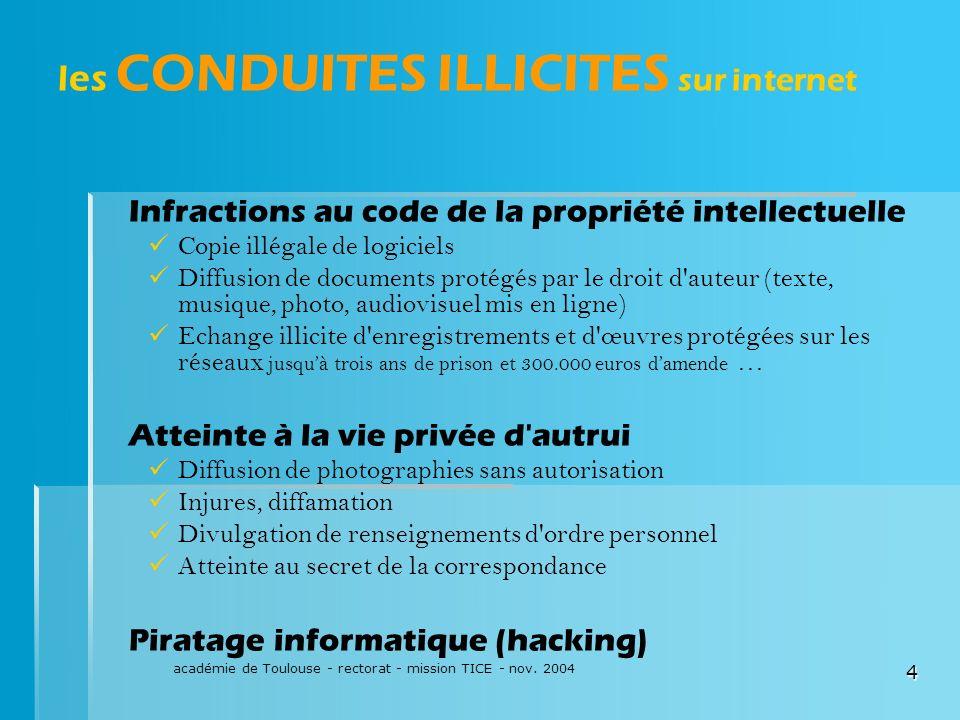 académie de Toulouse - rectorat - mission TICE - nov. 2004 4 les CONDUITES ILLICITES sur internet Infractions au code de la propriété intellectuelle C