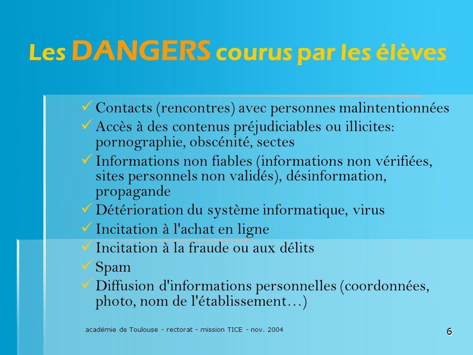 académie de Toulouse - rectorat - mission TICE - nov. 2004 6 Les DANGERS courus par les élèves Contacts (rencontres) avec personnes malintentionnées A