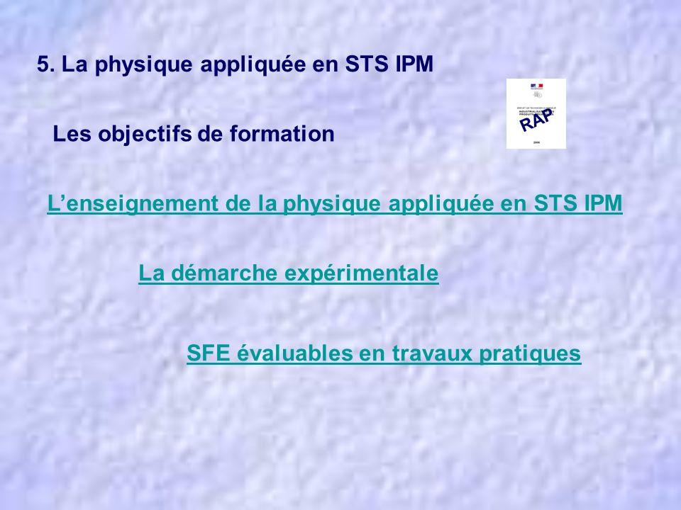 Lenseignement de la physique appliquée en STS IPM La démarche expérimentale SFE évaluables en travaux pratiques 5. La physique appliquée en STS IPM Le