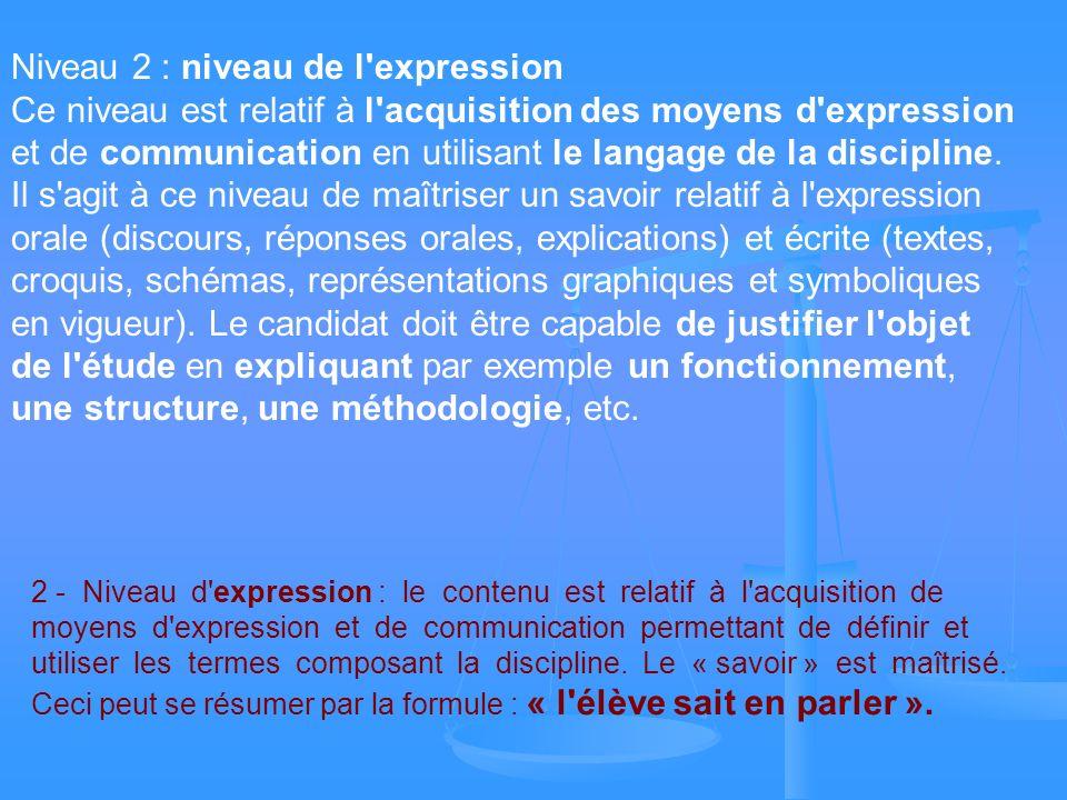 Niveau 2 : niveau de l'expression Ce niveau est relatif à l'acquisition des moyens d'expression et de communication en utilisant le langage de la disc