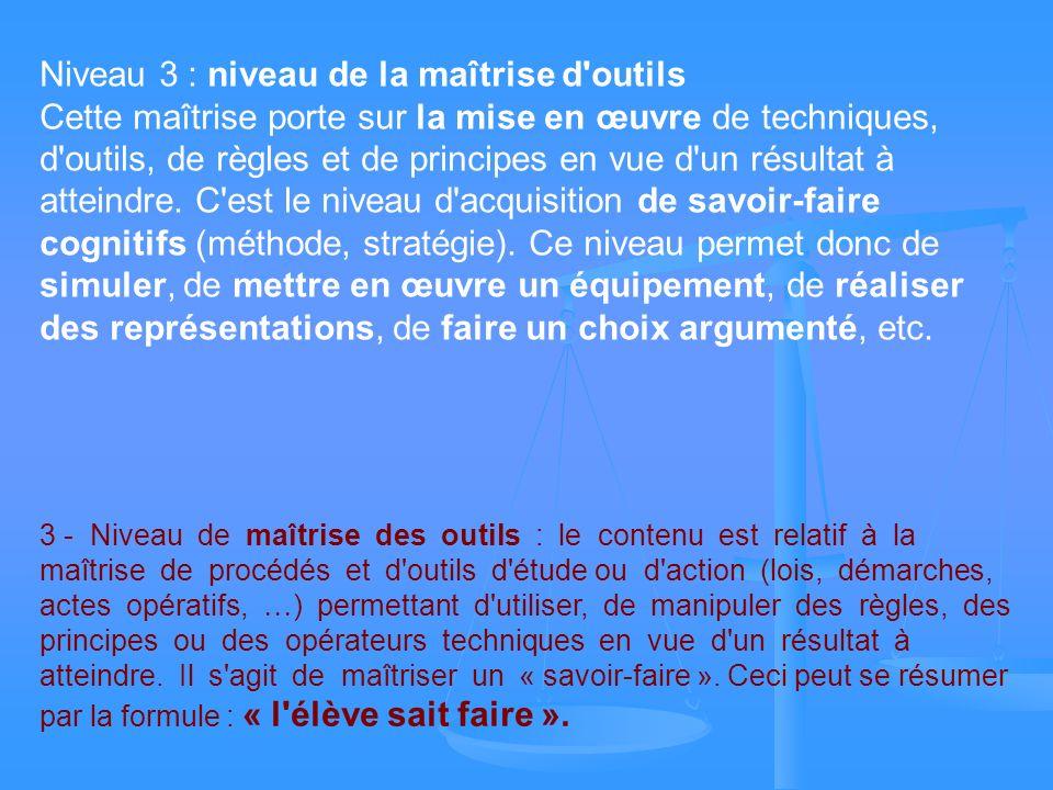 Niveau 3 : niveau de la maîtrise d'outils Cette maîtrise porte sur la mise en œuvre de techniques, d'outils, de règles et de principes en vue d'un rés