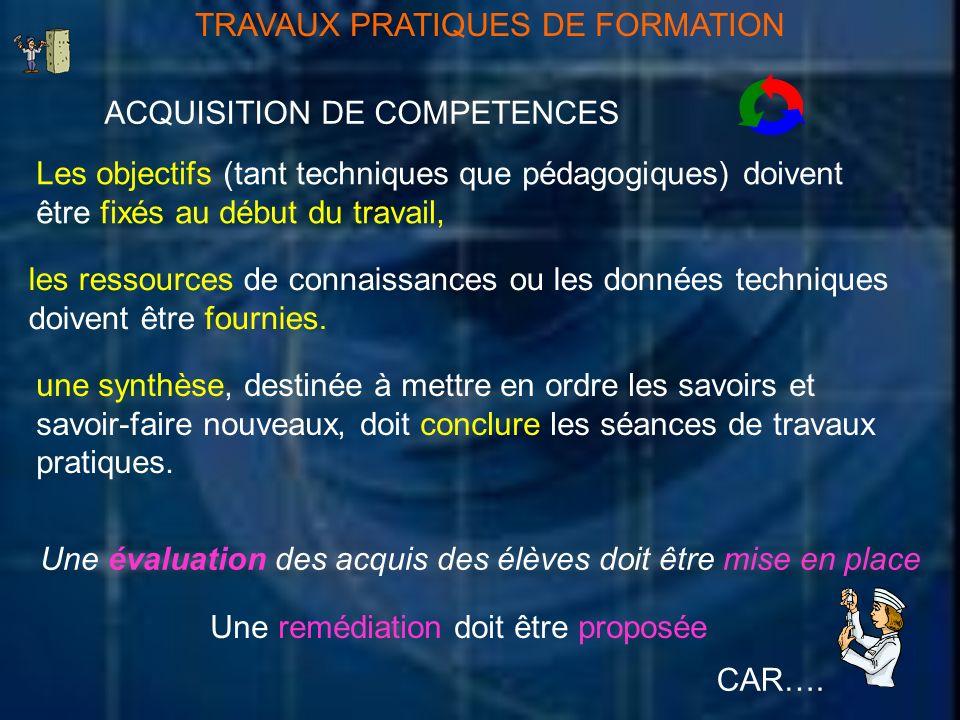TRAVAUX PRATIQUES DE FORMATION ACQUISITION DE COMPETENCES Les objectifs (tant techniques que pédagogiques) doivent être fixés au début du travail, les