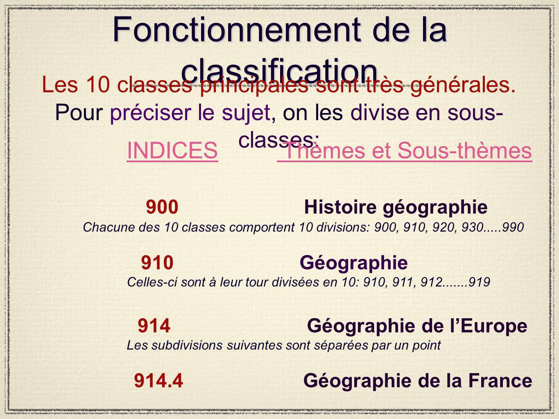 Fonctionnement de la classification Les 10 classes principales sont très générales.