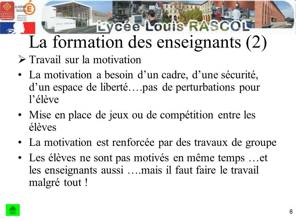 7 La formation des enseignants (3) Liste de compétences à faire travailler en Bac Pro Les calculs de développements / polynômes ( chgt.