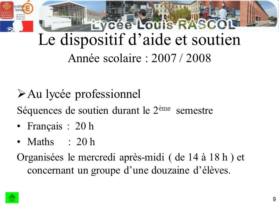 10 Le dispositif daide et soutien Année scolaire : 2008 / 2009 Au lycée général et technologique .