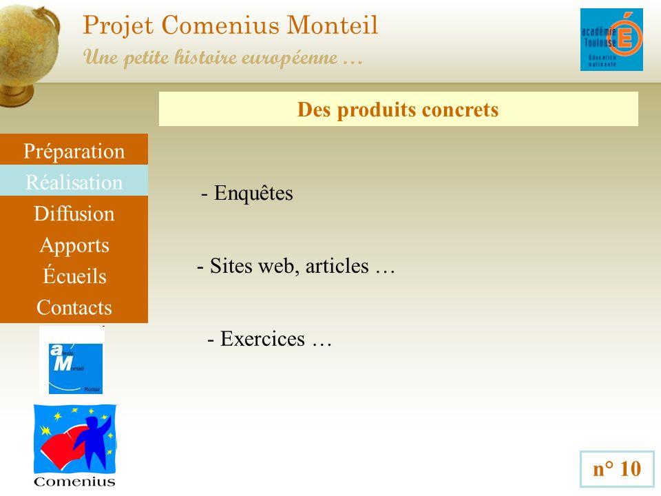 Projet Comenius Monteil n° 10 Une petite histoire européenne … Préparation Réalisation Diffusion Apports Écueils Contacts Des produits concrets - Enqu