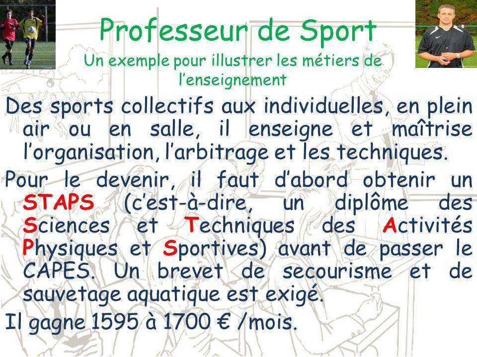 Professeur de Sport Des sports collectifs aux individuelles, en plein air ou en salle, il enseigne et maîtrise lorganisation, larbitrage et les techni