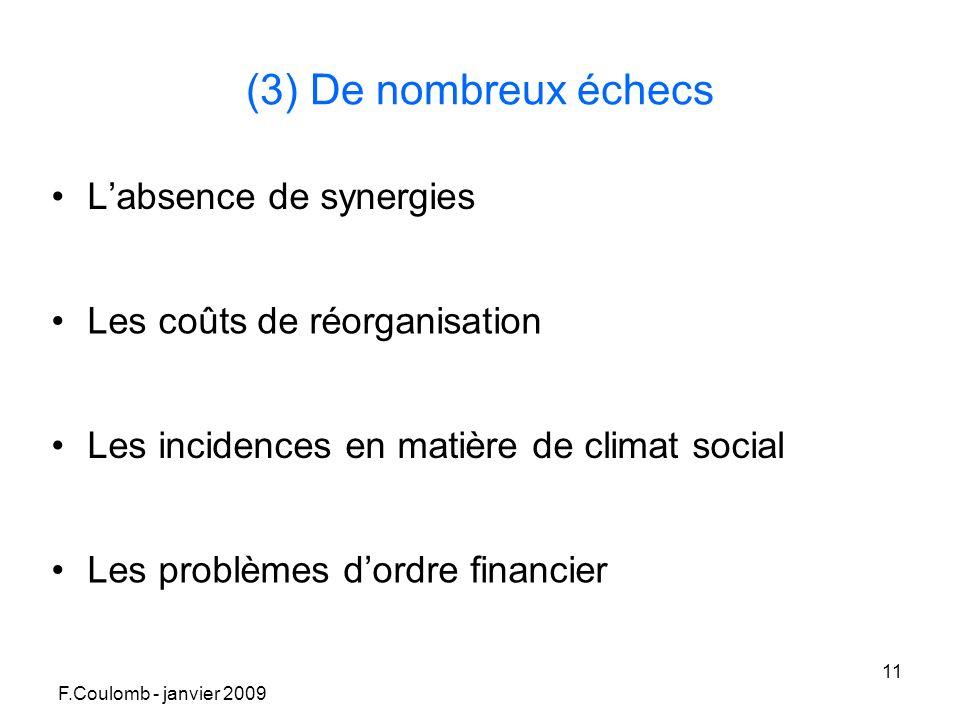 F.Coulomb - janvier 2009 11 (3) De nombreux échecs Labsence de synergies Les coûts de réorganisation Les incidences en matière de climat social Les problèmes dordre financier