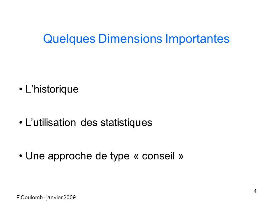 F.Coulomb - janvier 2009 4 Quelques Dimensions Importantes Lhistorique Lutilisation des statistiques Une approche de type « conseil »