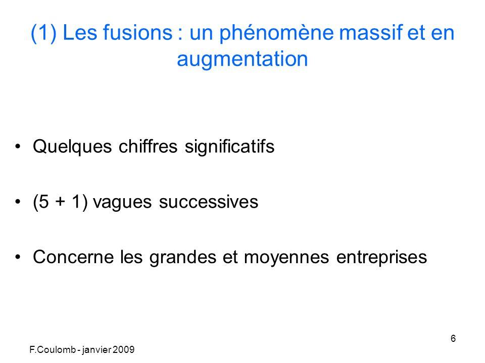 F.Coulomb - janvier 2009 6 (1) Les fusions : un phénomène massif et en augmentation Quelques chiffres significatifs (5 + 1) vagues successives Concerne les grandes et moyennes entreprises
