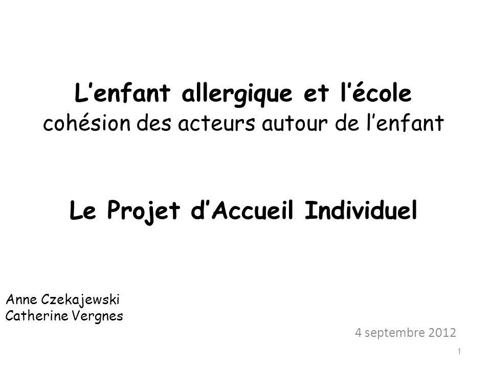 Lenfant allergique et lécole cohésion des acteurs autour de lenfant Le Projet dAccueil Individuel Anne Czekajewski Catherine Vergnes 4 septembre 2012