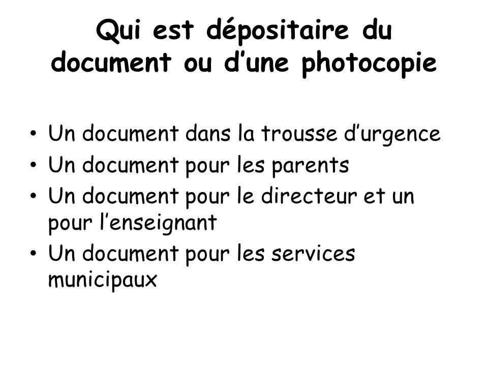 Qui est dépositaire du document ou dune photocopie Un document dans la trousse durgence Un document pour les parents Un document pour le directeur et