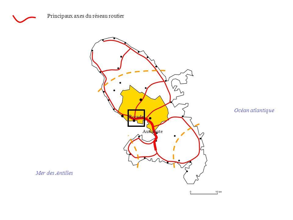 Océan atlantique Mer des Antilles Principaux axes du réseau routier Rocade Autoroute