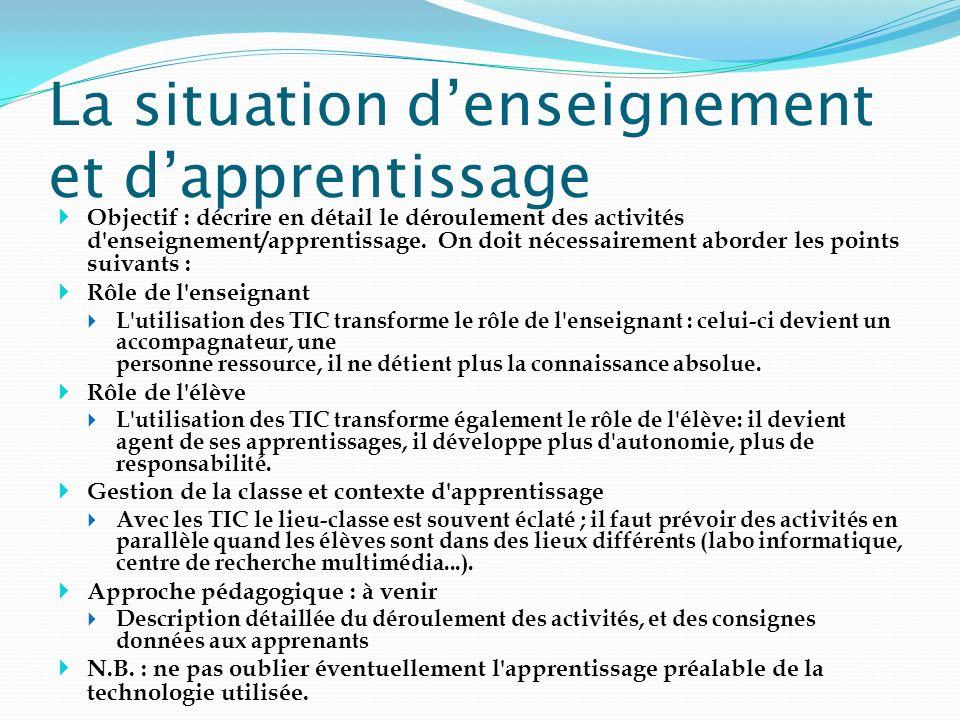 La situation denseignement et dapprentissage Objectif : décrire en détail le déroulement des activités d'enseignement/apprentissage. On doit nécessair