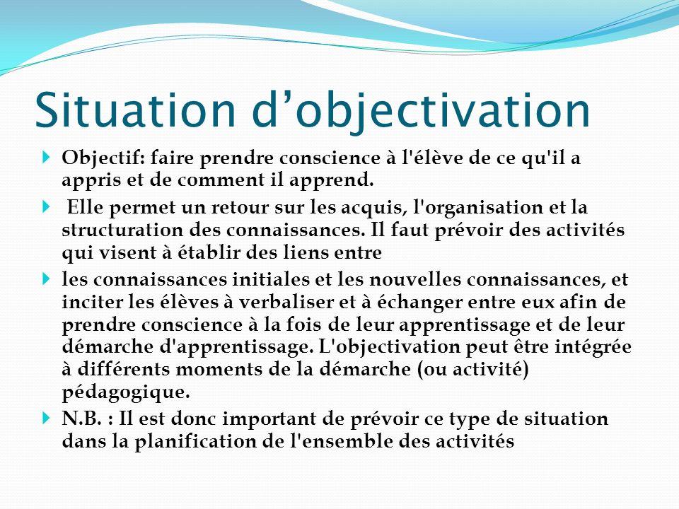 Situation dobjectivation Objectif: faire prendre conscience à l'élève de ce qu'il a appris et de comment il apprend. Elle permet un retour sur les acq