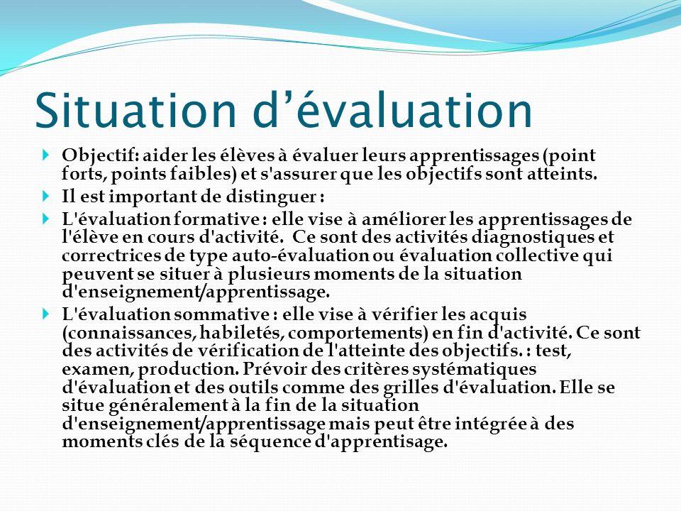 Situation dévaluation Objectif: aider les élèves à évaluer leurs apprentissages (point forts, points faibles) et s'assurer que les objectifs sont atte