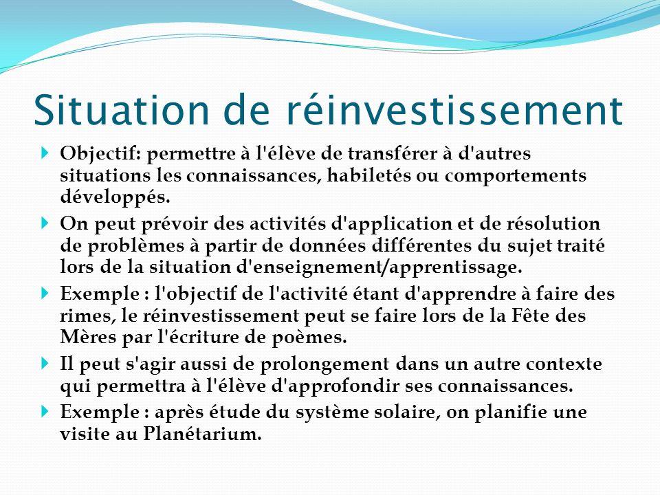 Situation de réinvestissement Objectif: permettre à l'élève de transférer à d'autres situations les connaissances, habiletés ou comportements développ