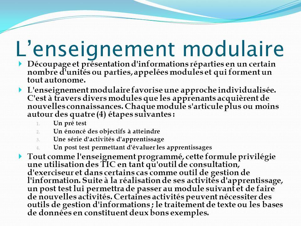 Lenseignement modulaire Découpage et présentation d'informations réparties en un certain nombre d'unités ou parties, appelées modules et qui forment u
