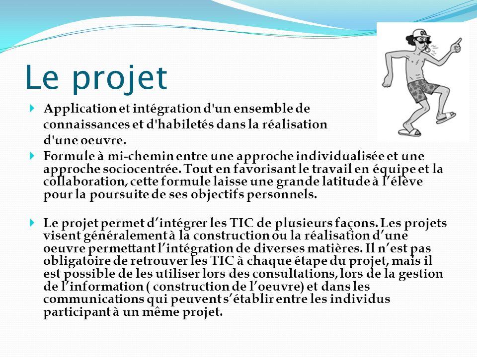 Le projet Application et intégration d'un ensemble de connaissances et d'habiletés dans la réalisation d'une oeuvre. Formule à mi-chemin entre une app