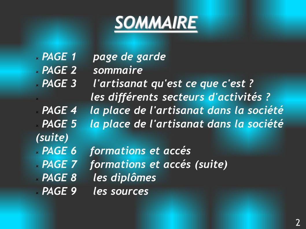 SOMMAIRE PAGE 1 page de garde PAGE 2 sommaire PAGE 3 l'artisanat qu'est ce que c'est ? les différents secteurs d'activités ? PAGE 4 la place de l'arti