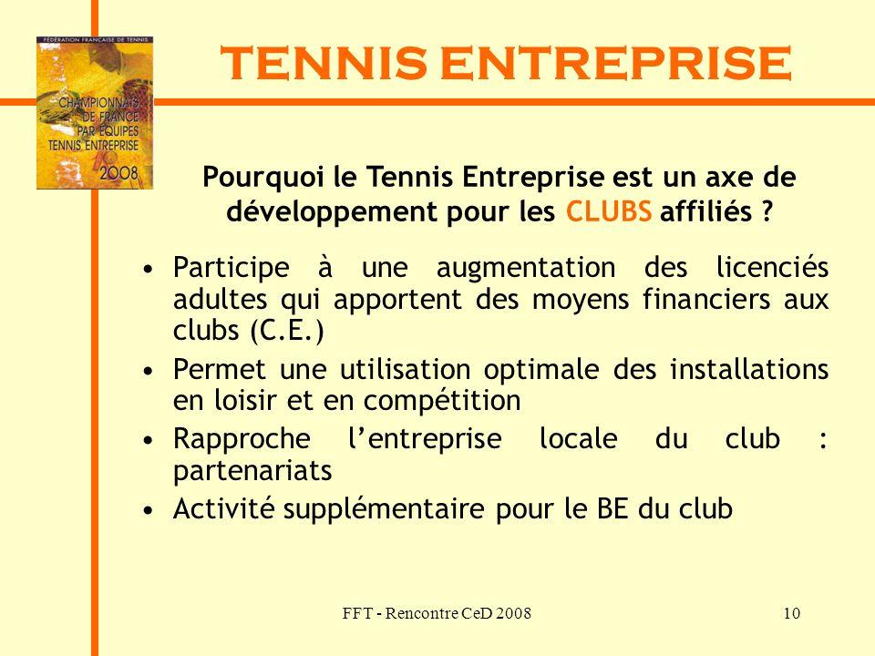 FFT - Rencontre CeD 200810 TENNIS ENTREPRISE Pourquoi le Tennis Entreprise est un axe de développement pour les CLUBS affiliés ? Participe à une augme