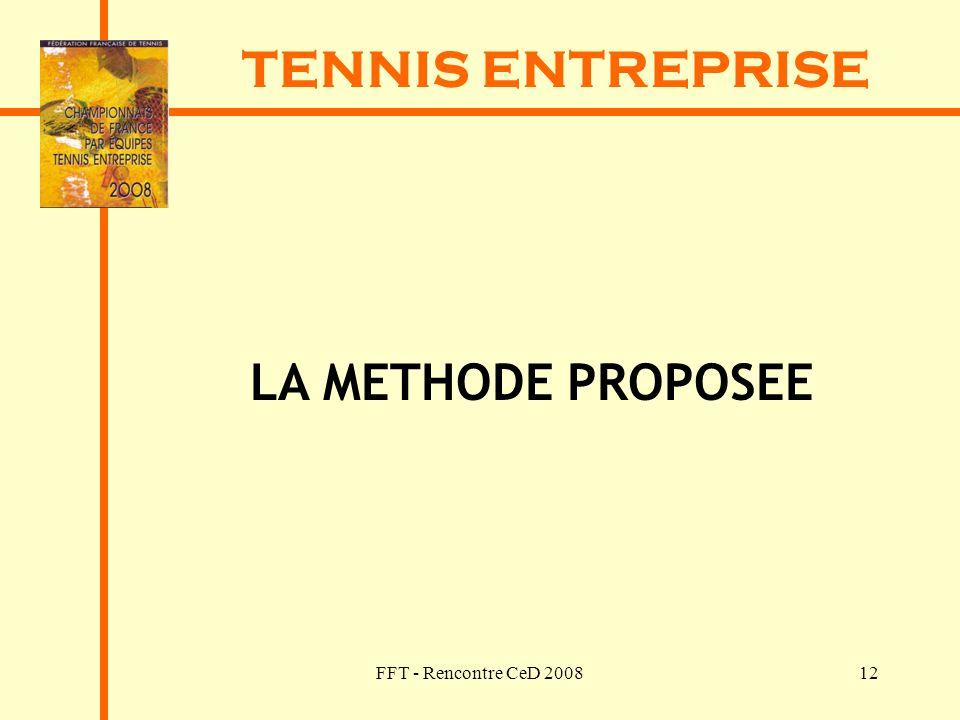 FFT - Rencontre CeD 200812 TENNIS ENTREPRISE LA METHODE PROPOSEE