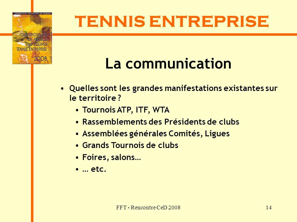 FFT - Rencontre CeD 200814 TENNIS ENTREPRISE La communication Quelles sont les grandes manifestations existantes sur le territoire ? Tournois ATP, ITF