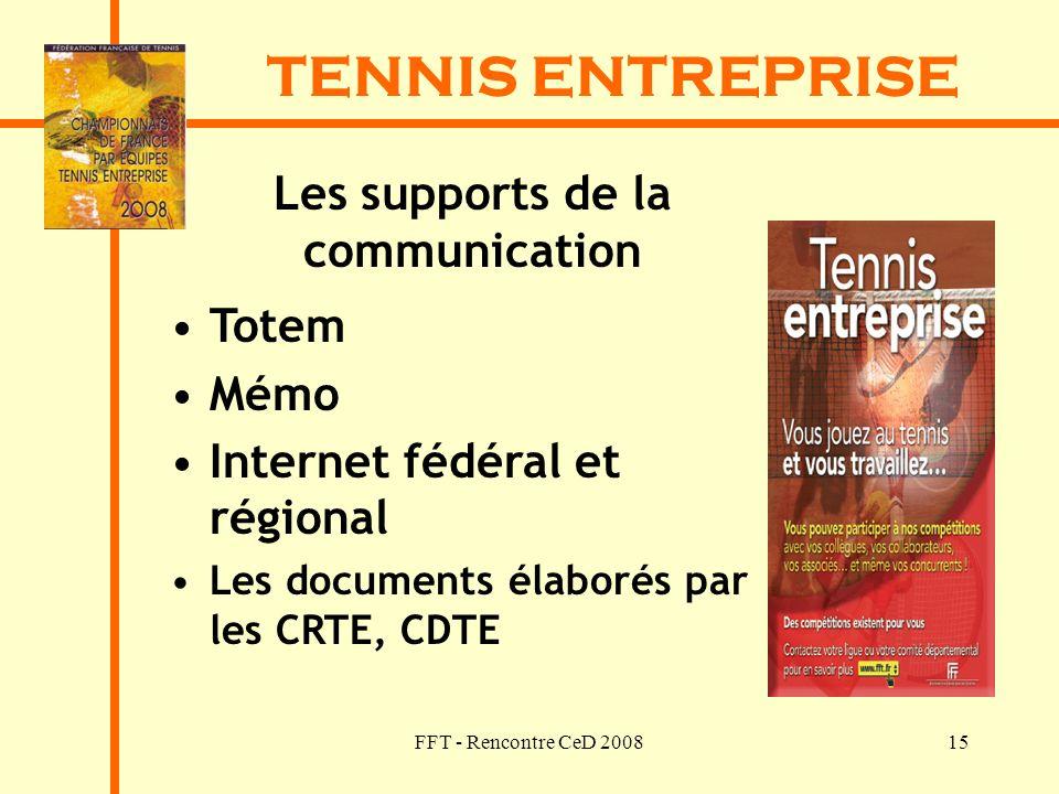 FFT - Rencontre CeD 200815 TENNIS ENTREPRISE Les supports de la communication Totem Mémo Internet fédéral et régional Les documents élaborés par les C