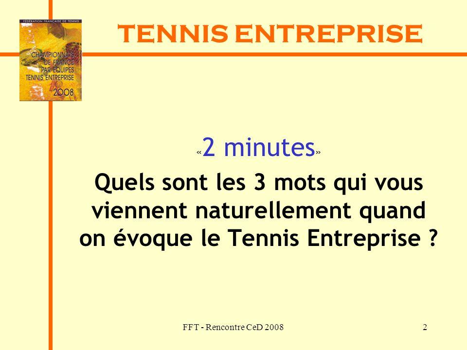 FFT - Rencontre CeD 20082 TENNIS ENTREPRISE « 2 minutes » Quels sont les 3 mots qui vous viennent naturellement quand on évoque le Tennis Entreprise ?