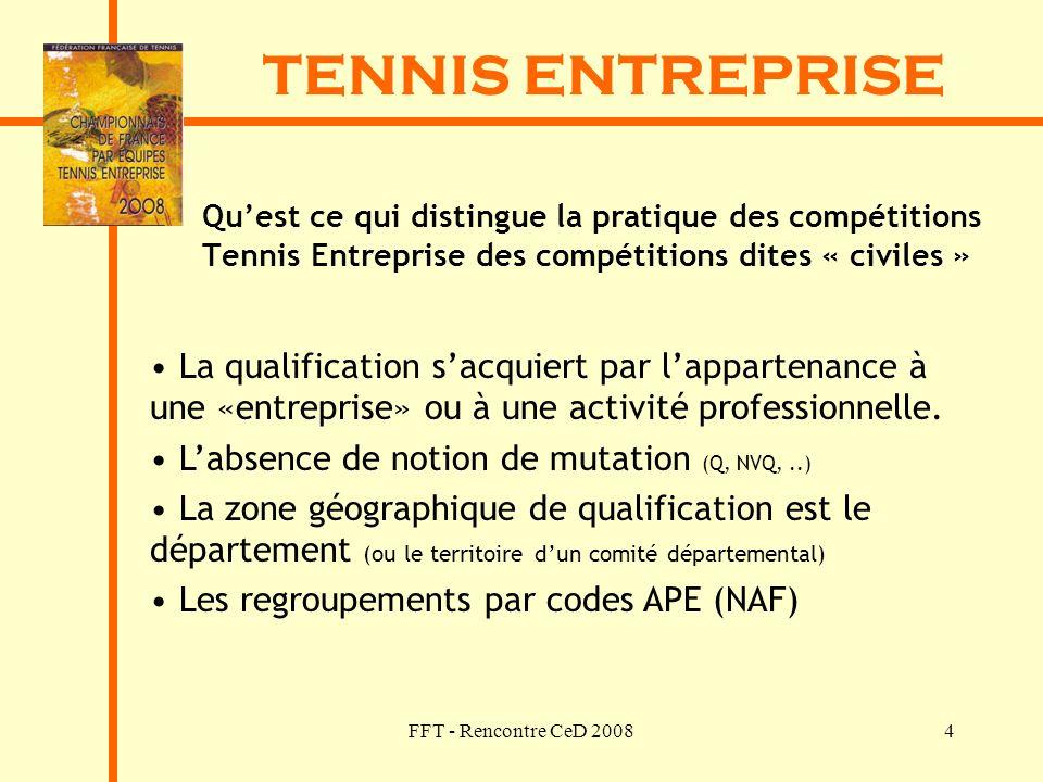 FFT - Rencontre CeD 20084 TENNIS ENTREPRISE Quest ce qui distingue la pratique des compétitions Tennis Entreprise des compétitions dites « civiles » L