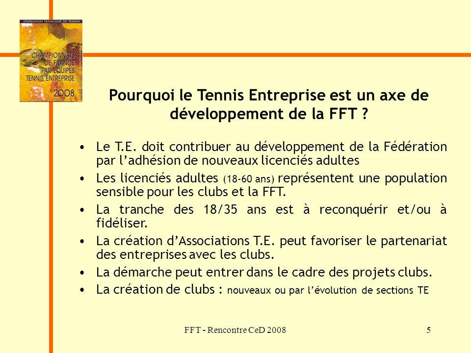 FFT - Rencontre CeD 20085 Pourquoi le Tennis Entreprise est un axe de développement de la FFT ? Le T.E. doit contribuer au développement de la Fédérat