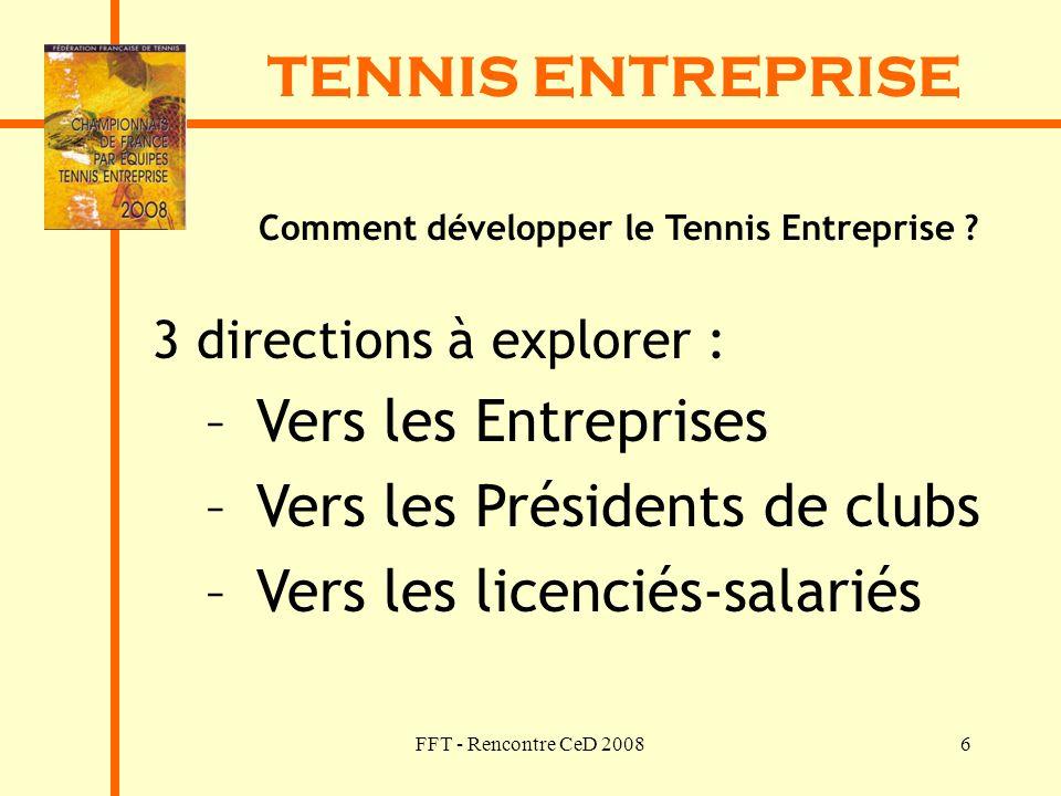 FFT - Rencontre CeD 20086 TENNIS ENTREPRISE Comment développer le Tennis Entreprise ? 3 directions à explorer : – Vers les Entreprises – Vers les Prés