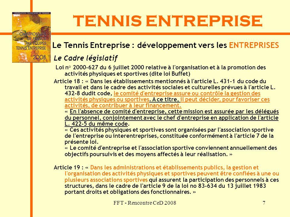 FFT - Rencontre CeD 20087 TENNIS ENTREPRISE Le Cadre législatif Loi n° 2000-627 du 6 juillet 2000 relative à l'organisation et à la promotion des acti