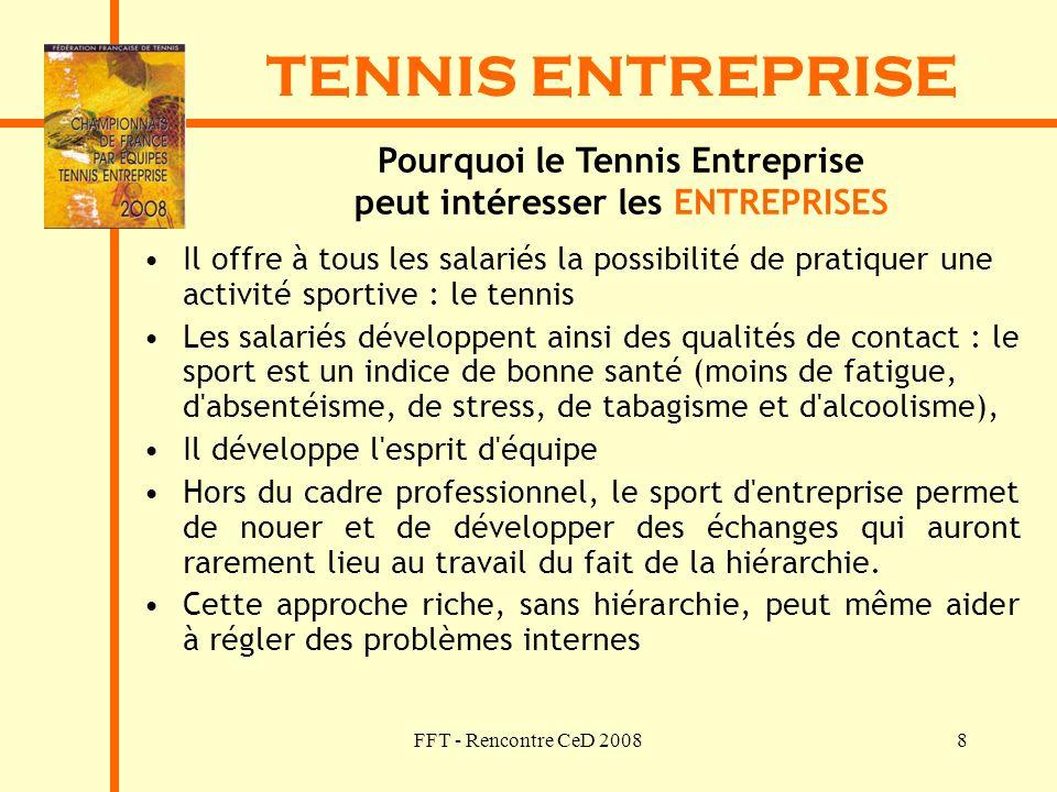 FFT - Rencontre CeD 20088 TENNIS ENTREPRISE Pourquoi le Tennis Entreprise peut intéresser les ENTREPRISES Il offre à tous les salariés la possibilité
