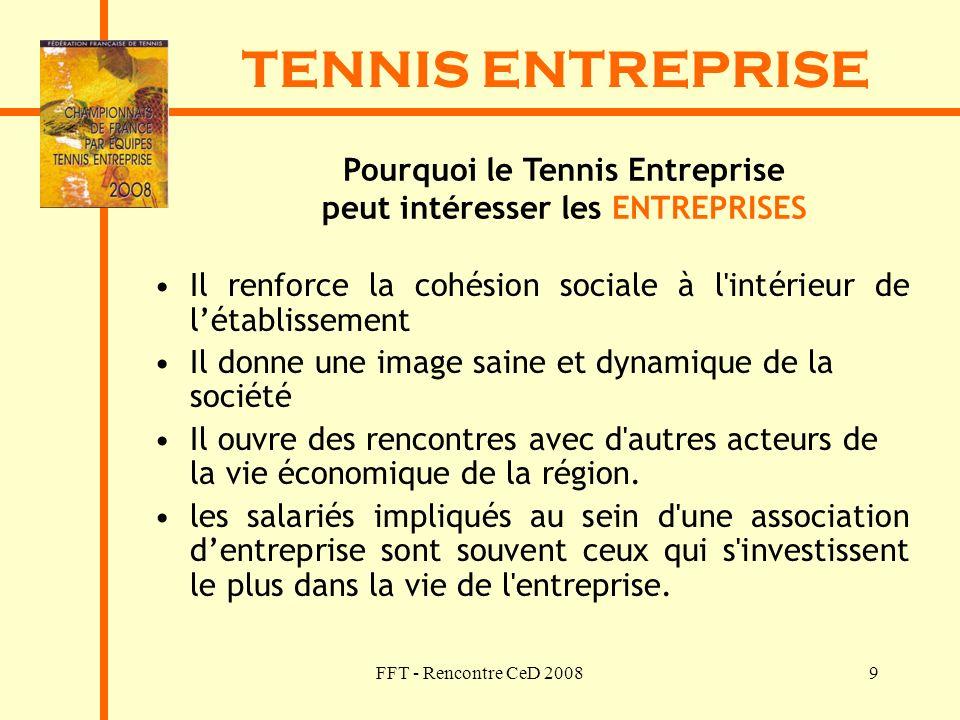 FFT - Rencontre CeD 20089 TENNIS ENTREPRISE Pourquoi le Tennis Entreprise peut intéresser les ENTREPRISES Il renforce la cohésion sociale à l'intérieu