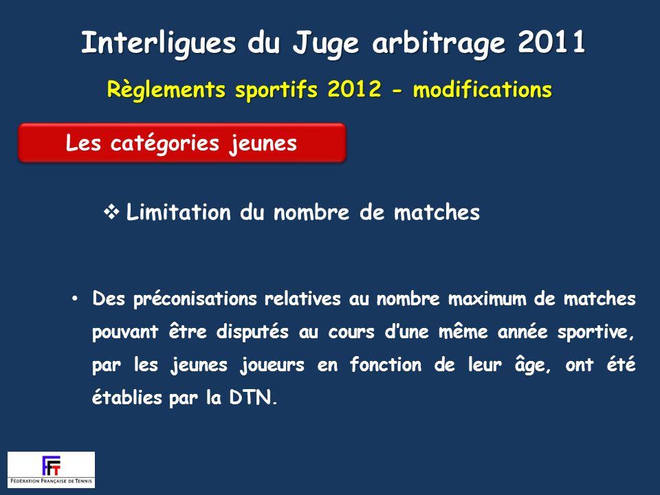 Règlements sportifs 2012 - modifications Article 209 Limitation du nombre de matches Interligues du Juge arbitrage 2011 Des préconisations relatives a