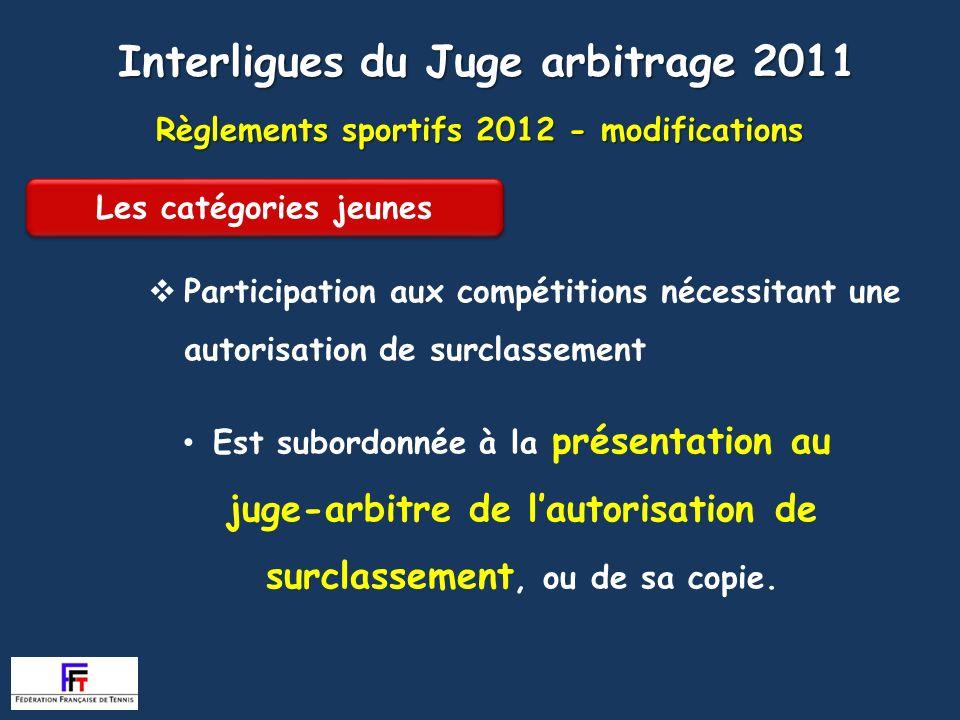 Règlements sportifs 2012 - modifications Article 210 Participation aux compétitions nécessitant une autorisation de surclassement Interligues du Juge