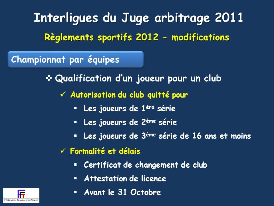 Règlements sportifs 2012 - modifications Interligues du Juge arbitrage 2011 Autorisation du club quitté pour Les joueurs de 1 ère série Les joueurs de