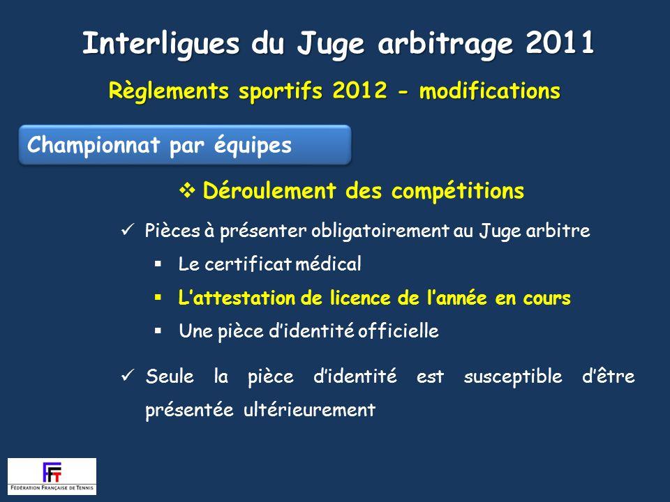 Règlements sportifs 2012 - modifications Interligues du Juge arbitrage 2011 Déroulement des compétitions Pièces à présenter obligatoirement au Juge ar