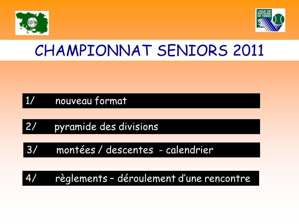 CHAMPIONNAT SENIORS 2011 1/nouveau format 2/ pyramide des divisions 3/ montées / descentes - calendrier 4/ règlements – déroulement dune rencontre