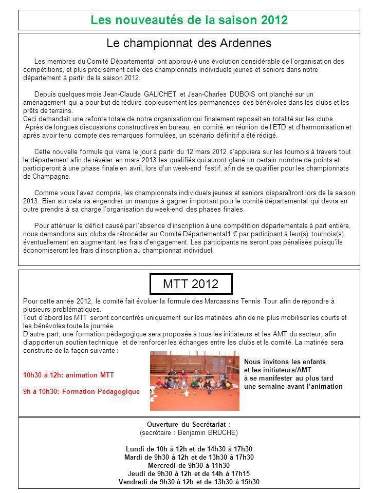 Le championnat des Ardennes Les membres du Comité Départemental ont approuvé une évolution considérable de lorganisation des compétitions, et plus précisément celle des championnats individuels jeunes et seniors dans notre département à partir de la saison 2012.