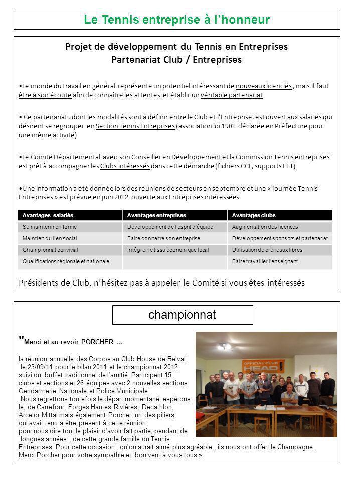 Projet de développement du Tennis en Entreprises Partenariat Club / Entreprises Le monde du travail en général représente un potentiel intéressant de nouveaux licenciés, mais il faut être à son écoute afin de connaître les attentes et établir un véritable partenariat Ce partenariat, dont les modalités sont à définir entre le Club et lEntreprise, est ouvert aux salariés qui désirent se regrouper en Section Tennis Entreprises (association loi 1901 déclarée en Préfecture pour une même activité) Le Comité Départemental avec son Conseiller en Développement et la Commission Tennis entreprises est prêt à accompagner les Clubs intéressés dans cette démarche (fichiers CCI, supports FFT) Une information a été donnée lors des réunions de secteurs en septembre et une « journée Tennis Entreprises » est prévue en juin 2012 ouverte aux Entreprises intéressées Présidents de Club, nhésitez pas à appeler le Comité si vous êtes intéressés Avantages salariésAvantages entreprisesAvantages clubs Se maintenir en formeDéveloppement de lesprit déquipeAugmentation des licences Maintien du lien socialFaire connaitre son entrepriseDéveloppement sponsors et partenariat Championnat convivialIntégrer le tissu économique localUtilisation de créneaux libres Qualifications régionale et nationaleFaire travailler lenseignant Merci et au revoir PORCHER...